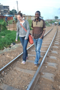 Me walking through Kibera with local journalist Josh Ogure (Photo credit: Jacob Ouma)